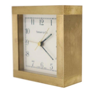 Heavy Tiffany Machined Bronze or Brass Square Mantel Desk Clock For Sale