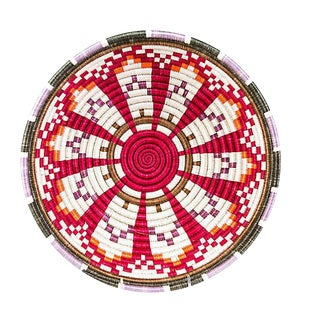 Red & White Woven African Basket For Sale
