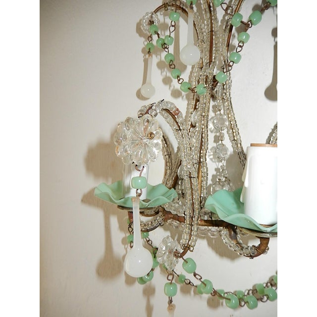 French French Rare Sea Foam Green Opaline Sconces, circa 1920 For Sale - Image 3 of 12