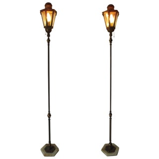 Pair of Antique Moorish Onyx and Jewel Base Lantern Floor Lamps For Sale