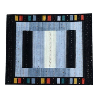 Hand-Knotted Wool Folk Art Gabbeh Rug- 8′3″ × 10′1″ For Sale