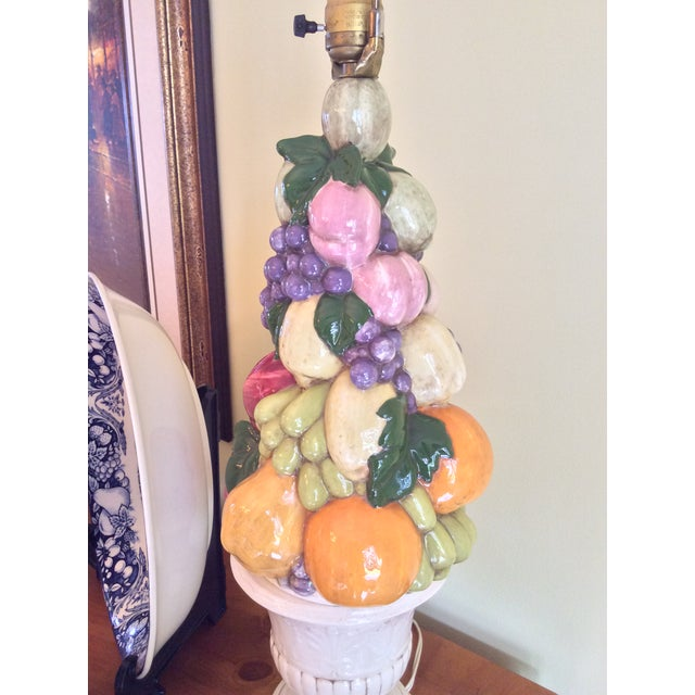 1960s 1960s Vintage Majolica Fruit Topiary Lamp For Sale - Image 5 of 13