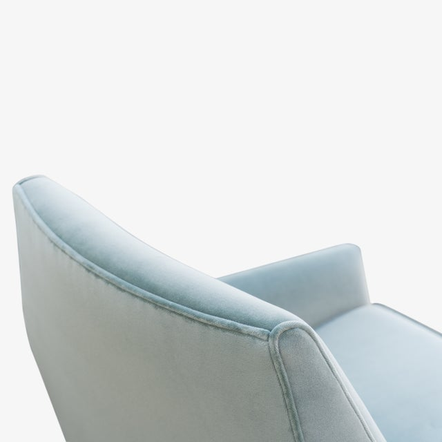 Blue Mid-Century Club Chairs in Sea Velvet, Pair For Sale - Image 8 of 10