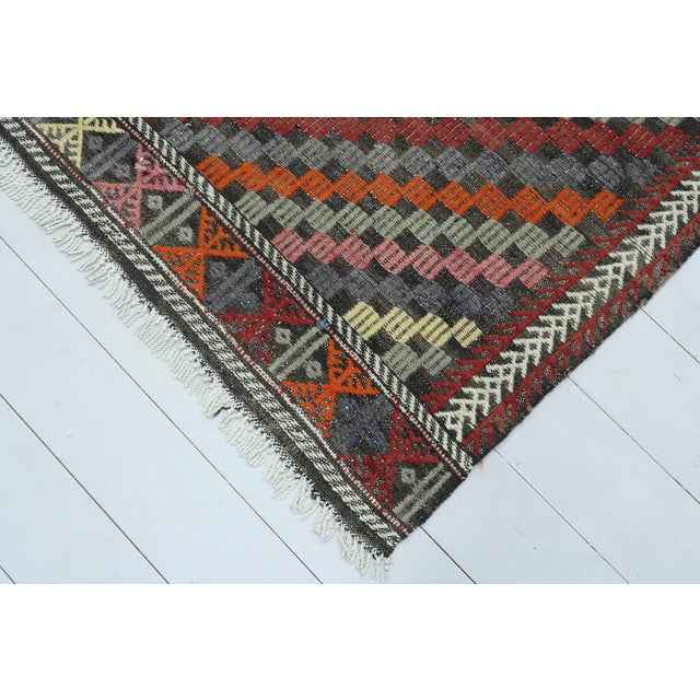 "Vintage Turkish Kilim Rug-6'4'x9'2"" For Sale - Image 11 of 13"