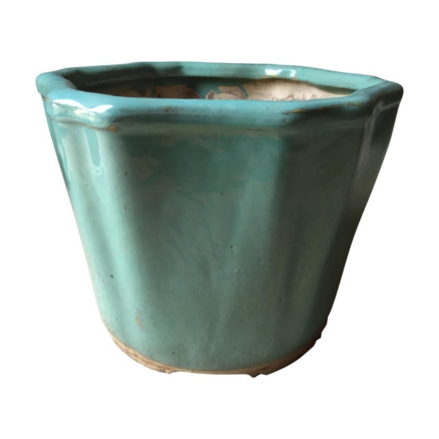"Vintage Celadon Chinoiserie Style Planter-13"" - Image 1 of 5"