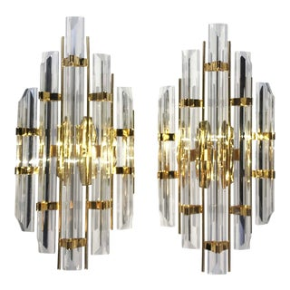 1970s Modern Murano Clear Glass Sconces - a Pair For Sale