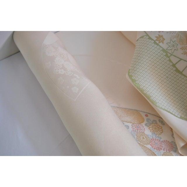Art Nouveau Japanese Rinzu Silk Kimono Fabric For Sale - Image 3 of 6