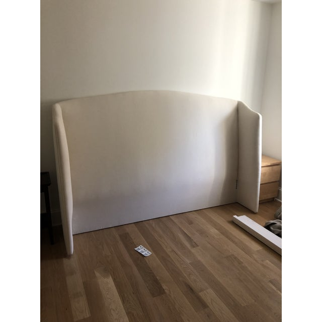 """Cisco Emma bed Eastern King: 88""""w x 56""""h x 94""""d Slipcovered Fabric: Amadio Natural Bought new for a client, but they don't..."""