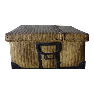 Antique Japanese Kimono Storage Basket ~ Woven Bamboo For Sale