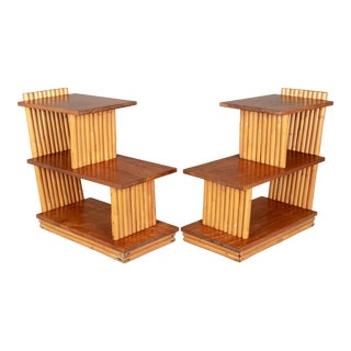 Mid Century Paul Frankl Rattan End Tables - a Pair For Sale