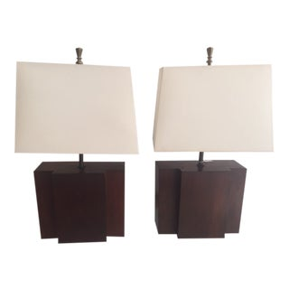 A Pair of French Moderne Walnut Lamps With Shades For Sale
