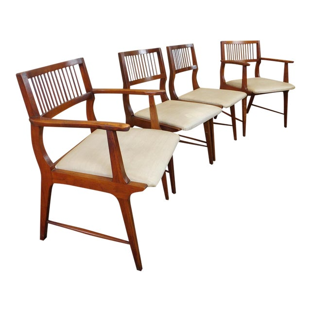 Vintage Lane Furniture Walnut Dining Chairs - Set of 4 - Image 1 of 11