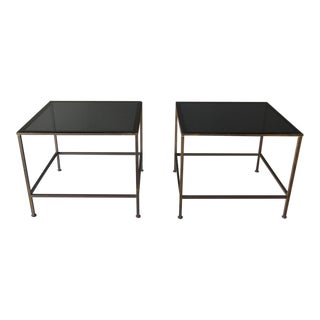 1970s Smoked Glass and Brass Side / End Tables - a Pair For Sale