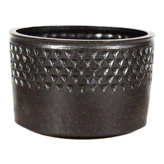 Christian Boehr Ceramic Stoneware Planter —Small Delta Pattern —Black Glaze — P55 For Sale