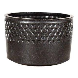 Christian Boehr Ceramic Stoneware Planter —Small Delta Pattern —Black Glaze — P55 For Sale