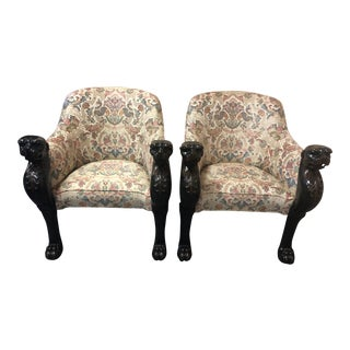 1990s Vintage Carved Wood and Upholstered Panther Club Chairs- A Pair For Sale