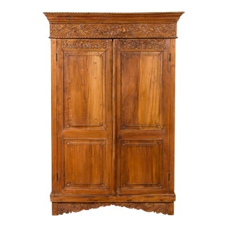Indian 19th Century Tall Cabinet with Carved Scrolling Foliage and Beaded Motifs For Sale