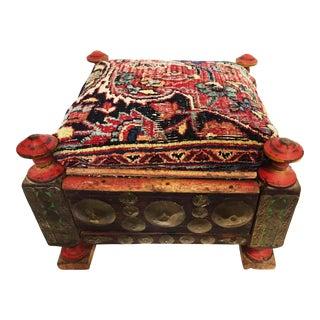 Antique Afghan Stool /19th Tribal Persian Bakhtiari Top For Sale