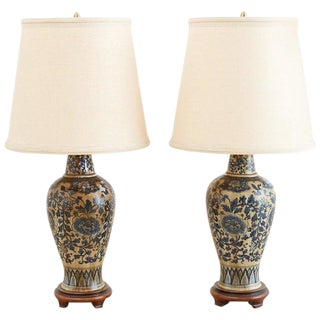 Pair of Chinoiserie Blue and White Lamps by Marbro For Sale