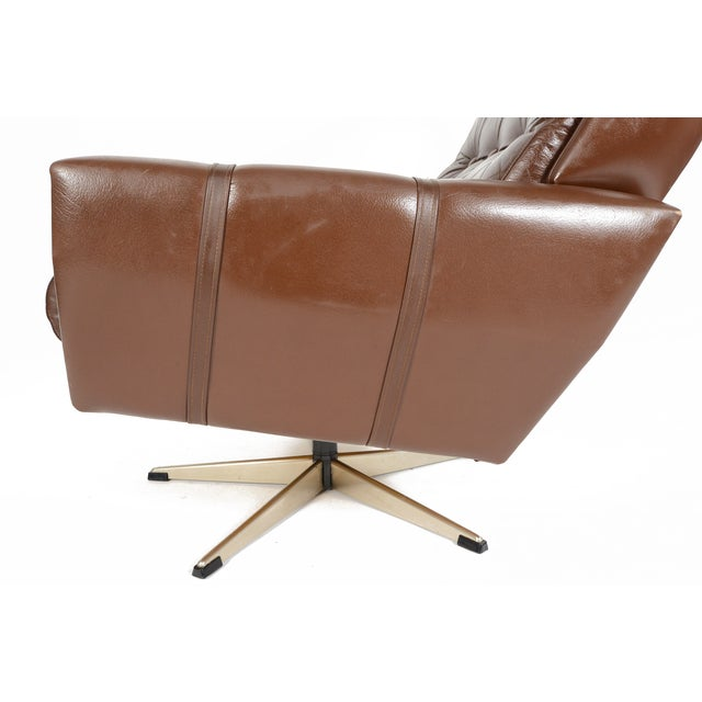 High Back Brown Leather Swivel Lounge Chair - Image 8 of 10