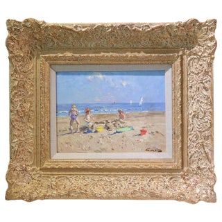 Oil on Board, Impressionist Beach Scene Painting by Niek van der Plas For Sale