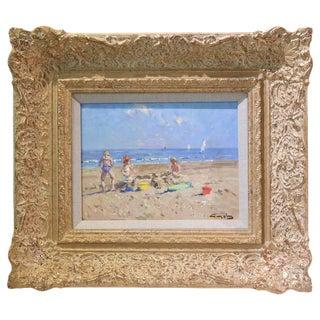 Oil on Board, Impressionist Beach Scene Painting by Niek van der Plas