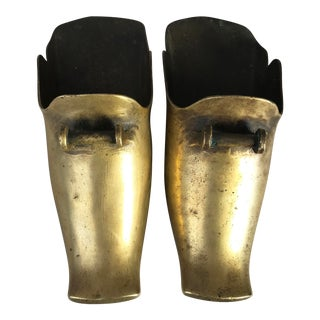 Small Antique Brass Ceremonial Stirrups - A Pair For Sale