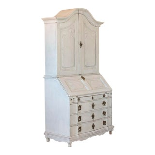 Antique Gustavian White Painted Secretary Desk For Sale