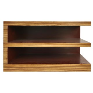Zebra Wood Tiered Low Bookcase Side or End Table For Sale