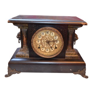 Antique Victorian Welch Faux Marble Column Mantel Clock For Sale