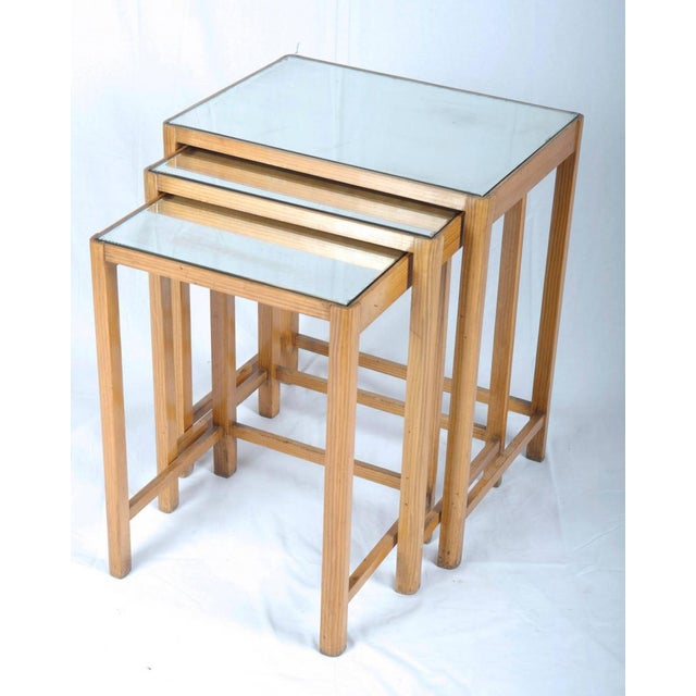 Tan Mirrored Vintage Nesting Tables, 1930 - Set of 3 For Sale - Image 8 of 8