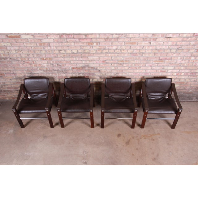 Metal Maurice Burke for Pozza Mahogany and Leather Safari Chairs, Set of Four For Sale - Image 7 of 13
