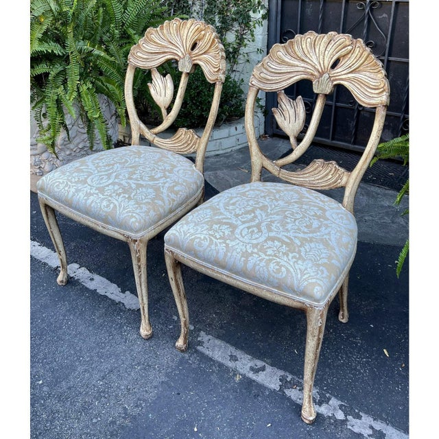 Beige Vintage Fortuny Upholstered Carved Italian Grotto Chairs - a Pair For Sale - Image 8 of 8