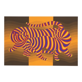 "Victor Vasarely, ""Two Tigers on Gold"", Op Art Screenprint For Sale"