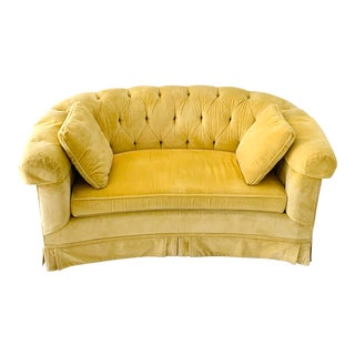 Vintage 1950s Hollywood Regency Tufted Yellow Velvet Loveseat For Sale