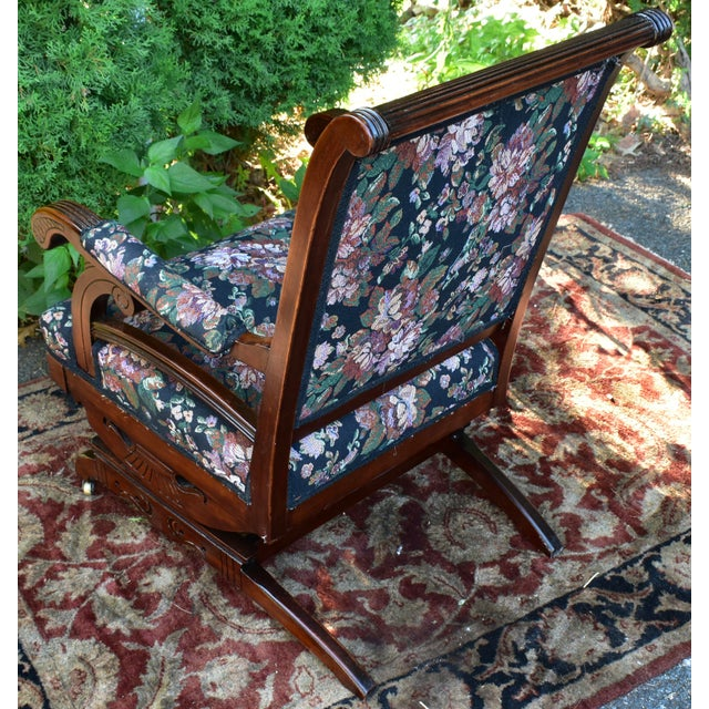 19th Century Antique Victorian Eastlake Mahogany Rocking Chair New Upholstery For Sale - Image 10 of 13
