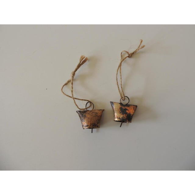 1990s Gold Leaf Iron Indian Holiday Christmas Tree Ornaments - a Pair For Sale - Image 5 of 5
