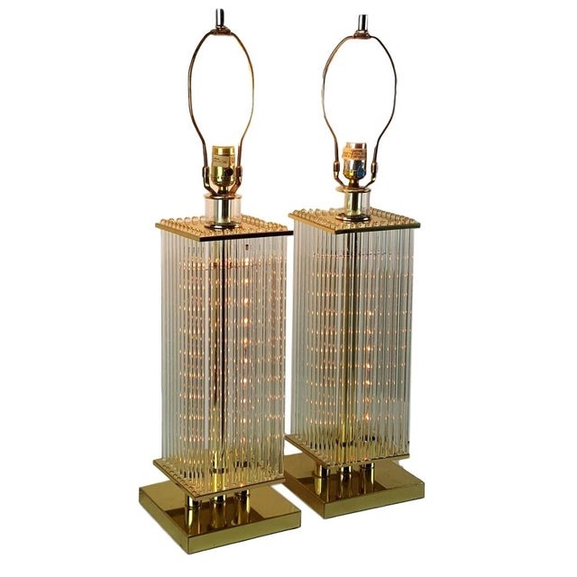 Sciolari-Style Glass Rod Table Lamps - A Pair - Image 1 of 10