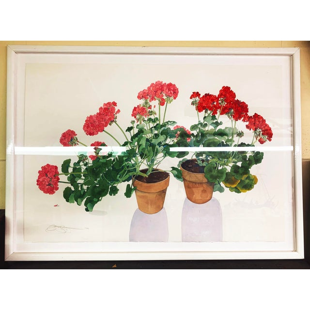 Large Framed Watercolor of Pink and Red Potted Geraniums by Gary Bukovnik For Sale - Image 13 of 13