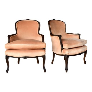 Pair of Louis XV Carved Walnut Bergere Chairs For Sale