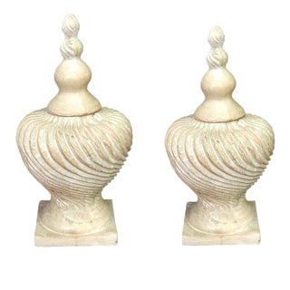 Traditional Hard Resin European Finials - a Pair For Sale