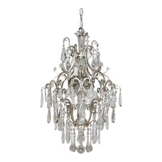 1910s E.F. Caldwell Silver and Crystal Chandelier For Sale