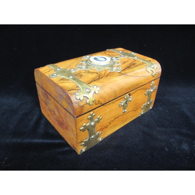 Brass 19th Century Antique Coromandel Ebony & Wedgwood Basaltware Sewing Box For Sale - Image 7 of 7
