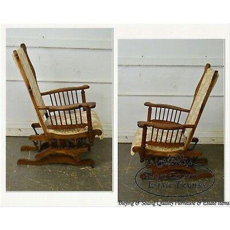 Brown Antique 19th Century Victorian Oak Platform Rocker For Sale - Image 8 of 13