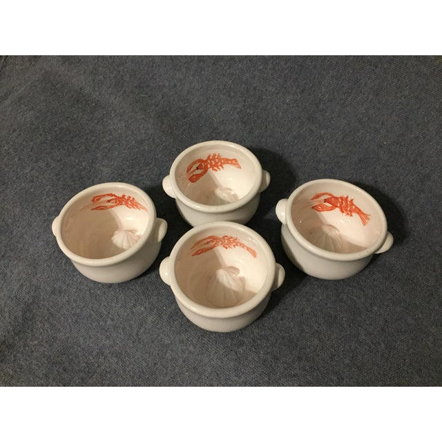 Mid-Century Majolica Lobster and Seashell Sculpture Clarified Butter Ramekins Bowl - Set of 4 For Sale - Image 10 of 10