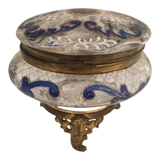 Antique Bohemian Glass Trinket Dresser Box For Sale
