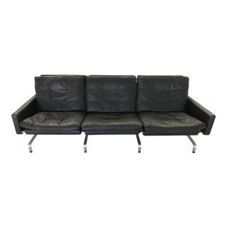 Poul Kjaerholm for Fritz Hansen Black Leather 3 Seat Sofa For Sale