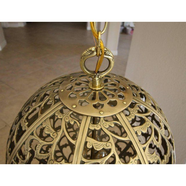 Yellow Large Japanese Asian Pierced Filigree Brass Ceiling Pendant Light For Sale - Image 8 of 11