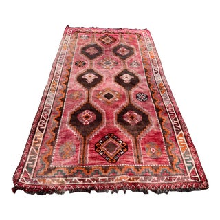Early 20th Century Vintage Hand Knotted Wool Rug-4′9″ × 9′5″ For Sale