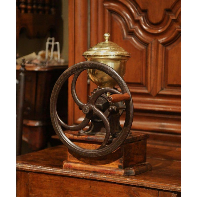 Mid 19th Century Large 19th Century French Walnut Iron and Brass Coffee Grinder For Sale - Image 5 of 11